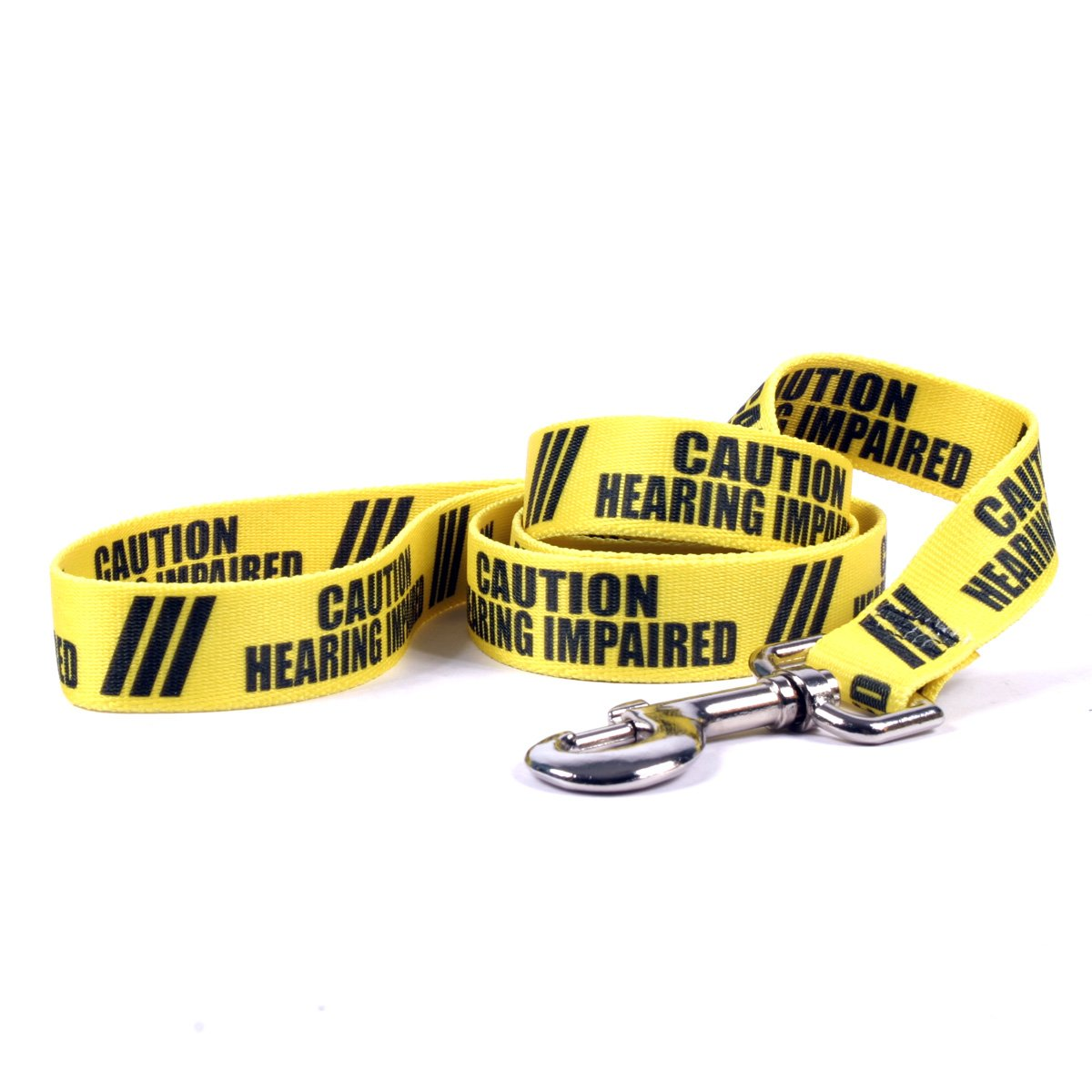 Yellow Dog Design Caution Hearing Impaired Dog Leash with Standard Loop Handle, 1'' Wide