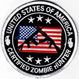 "USA Certified Zombie Hunter 3.5"" AK47 AR15 iron-on embroidered patch/applique"