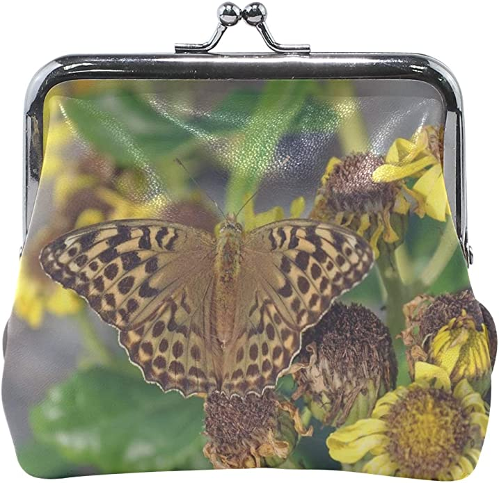 Womens Butterfly Hawk Moth Buckle Coin Purses Mini Size Wallet