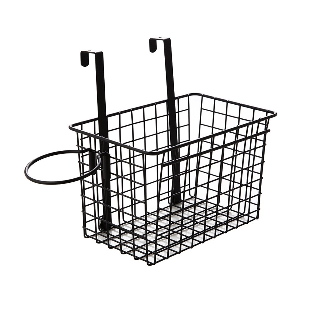 Yontree Metal Over The Cabinet Kitchen Storage Organizer Basket Holder Wall Mounted Basket Over The Door Rack Black