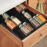 mDesign Expandable Kitchen Spice Organizer Rack for Herbs, Salt, Pepper, Cinnamon, Ginger, Garlic - 3-Tier, Black