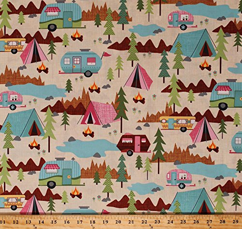 Cotton Camping Tents Trailers Campers Tenting Campfires Vacation Pine Trees Flowers Mountains Woods Wilderness Outdoors Scenic Cotton Fabric Print by The Yard (FUN-C2324-CREAM)