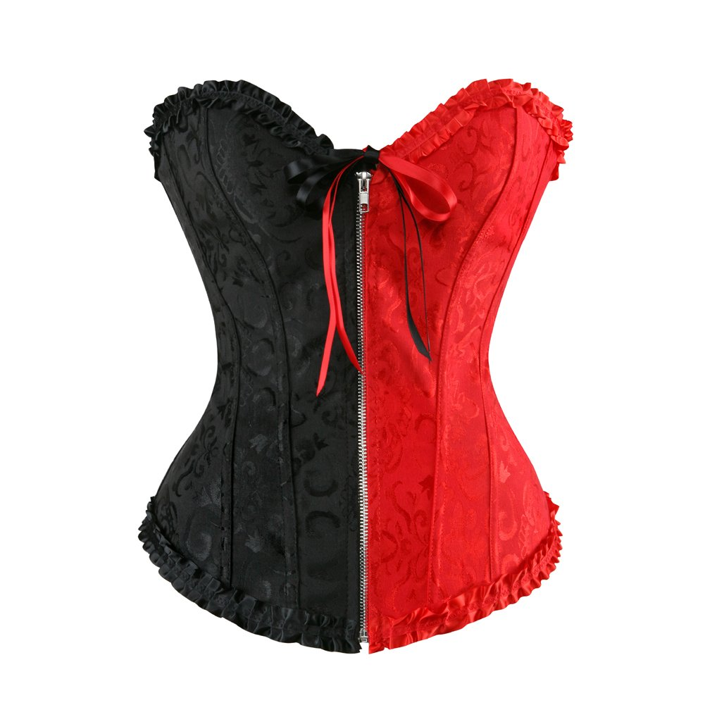 Grebrafan Gothic Lace Bridal Embroidered Overbust Floral Zip Corsets 2UG--2550
