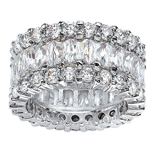 Baguette-Cut White Cubic Zirconia Platinum over .925 Silver Eternity Ring Size 7