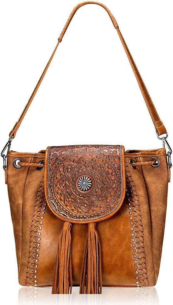 Montana West Genuine Leather Tooled Concealed Carry Crossbody Bag Western Hobo bag Shoulder Bag For Women