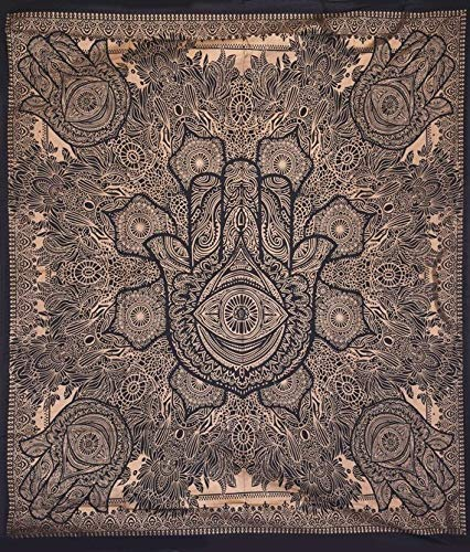 - GANESHAM Indian Hippie Gypsy Mandala Tapestry Bedspread Boho Hippie Bohemian Decor Curtain Cotton Bedsheet Throw Blankets Quilt (4)