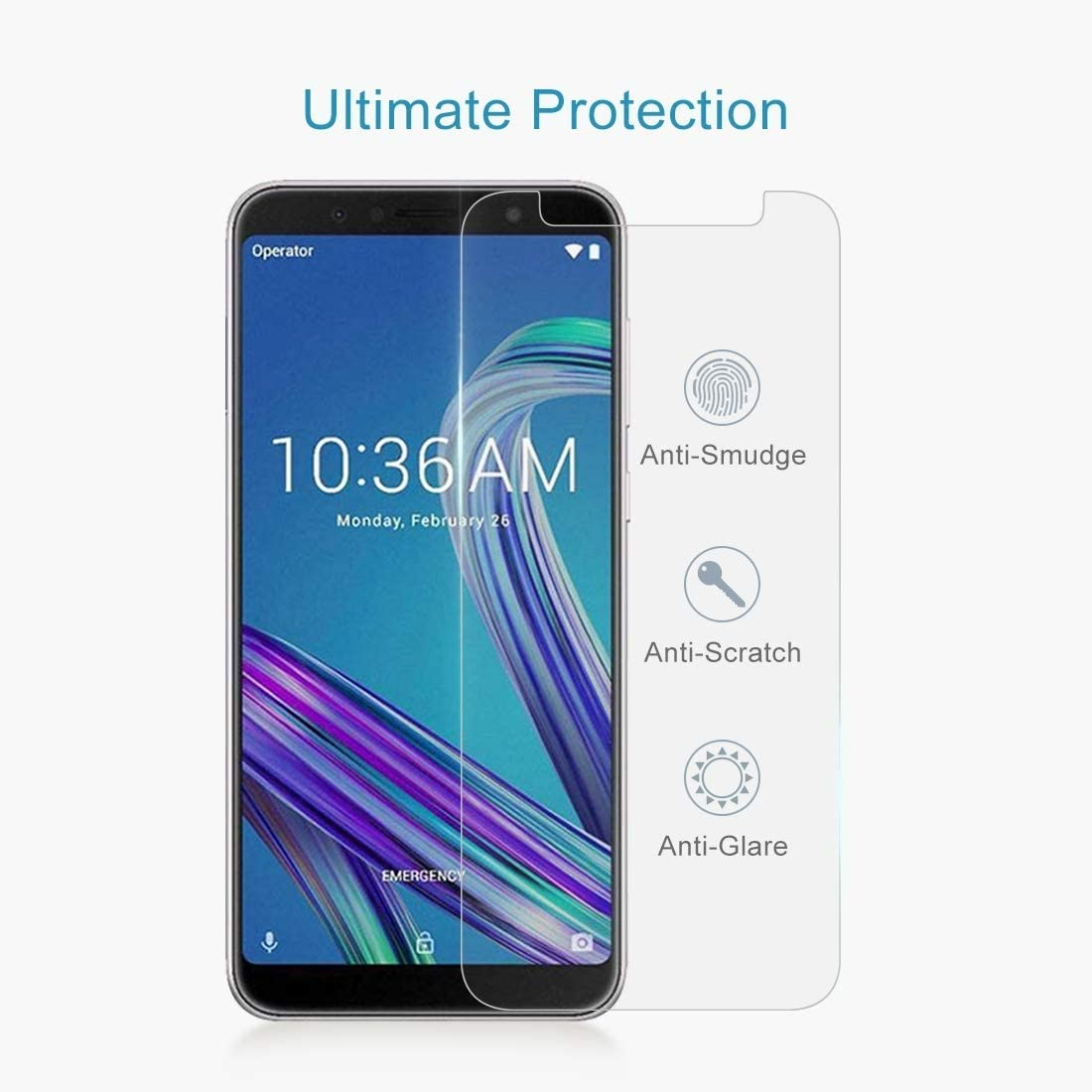 ZB601KL JIANGNIUS Screen Protectors 100 PCS 0.26mm 9H 2.5D Tempered Glass Film for Asus ZenFone Max Pro M1