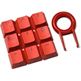 E Element Double Shot Electroplated Keycap Set, Translucent Backlit Key Cap for Mechanical Keyboards (Cherry mx switches) with Puller (red)