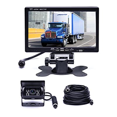 """Car Backup Camera System, Hikity Waterproof 18 IR LED Night Vision Reverse Camera + 7"""" TFT Rear View Monitor Vehicle Parking System for RV/Bus/Trailer/Truck (65ft 4-Pin Aviation Video Cable): Electronics"""