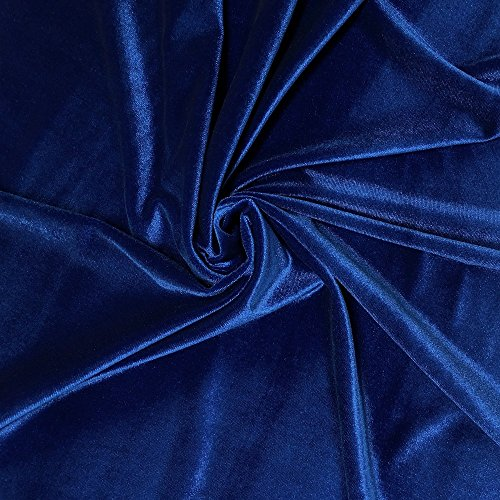 Stretch Velvet Fabric 60'' Wide by the Yard for Sewing Apparel Costumes Craft (1 YARD, Royal Blue)
