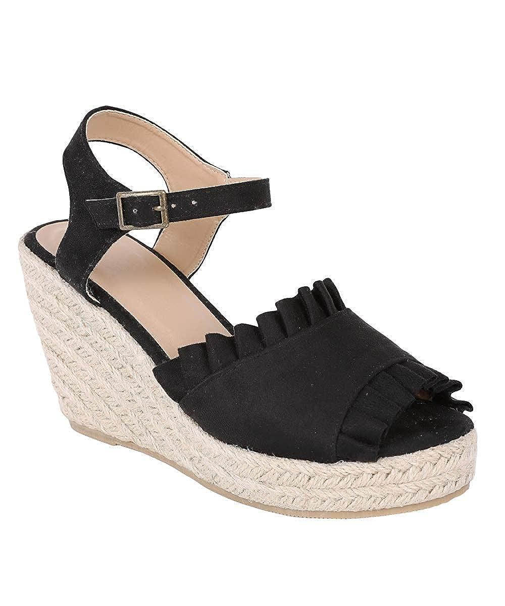 Black Syktkmx Womens Espadrille Wedge Sandals Platform Ruffles Open Toe High Heel Ankle Strap Sandals