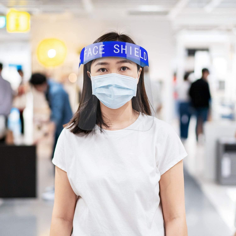 Escudo facial Peishi Clear Face Shield, contra la niebla ojos y el rostro del visera del protector, plástico ajustable for toda la cara cubierta for cocina que cocina -smp agradable (Size : 10PCS)