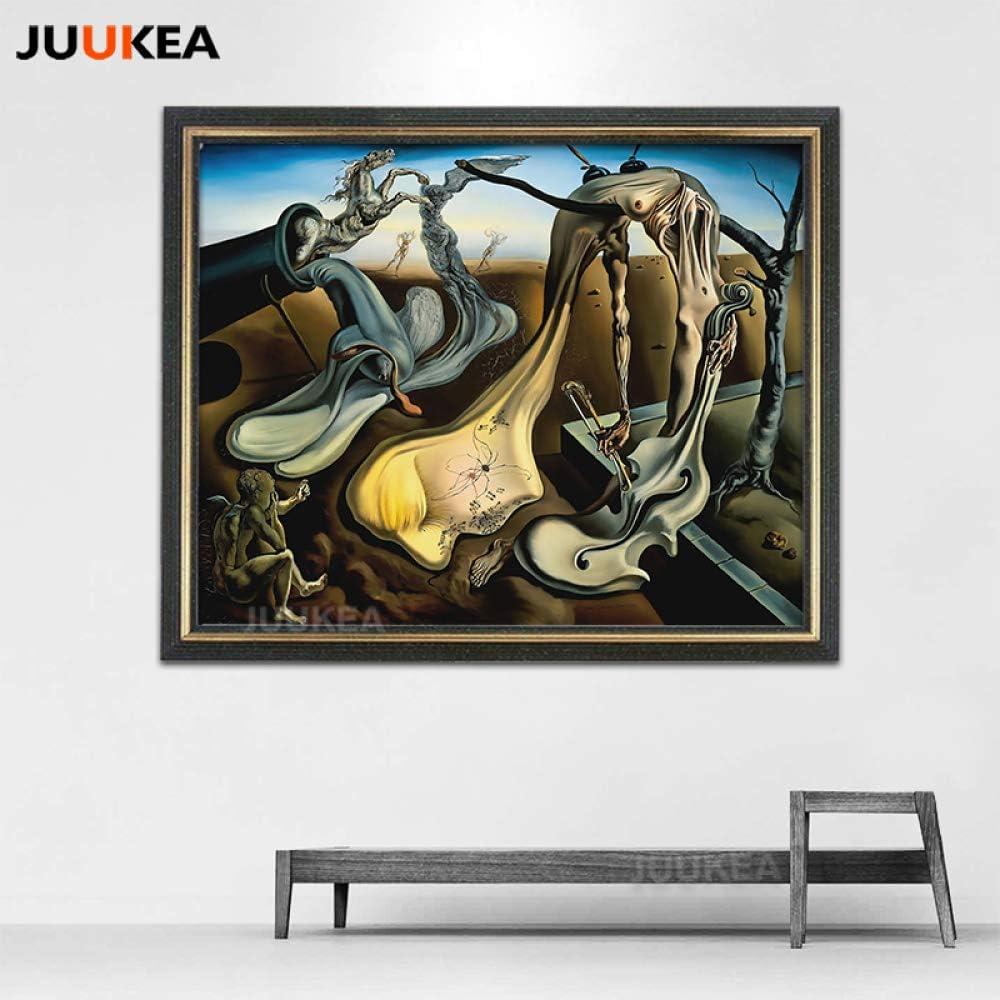 SQSHBBC Cuadro en Lienzo Pintura Salvador Dali Papá Piernas largas de la Noche Esperanza Violoncello Surrealismo Arte Pared Imágenes para Sala de Estar 78x98cm