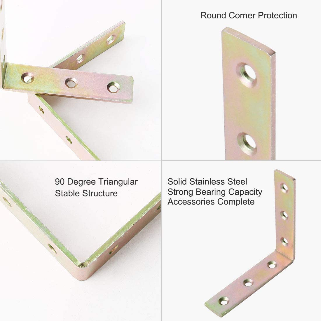 sourcing map 8pcs Angle Bracket Metal 80x80mm Corner Fastener L Shaped Right Angle Bracket Corner Protector Shelf Support for Furniture
