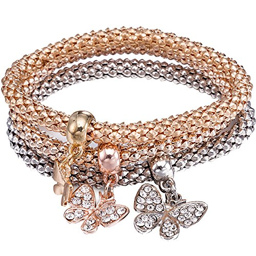 BEMI Popular 3PCS Gold/Silver/Rose Gold Corn Chain Zircon Charms Multilayer Stretch Bracelets for Womens Butterfly (Charm Butterfly Pave)