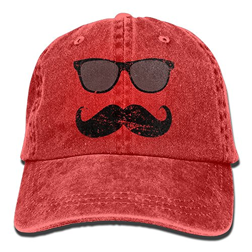 E-Isabel Incognito Boy - Funny Mustache and Sunglasses Adjustable Camping Cotton Washed Denim Hat - Jeans Sunglasses Polo