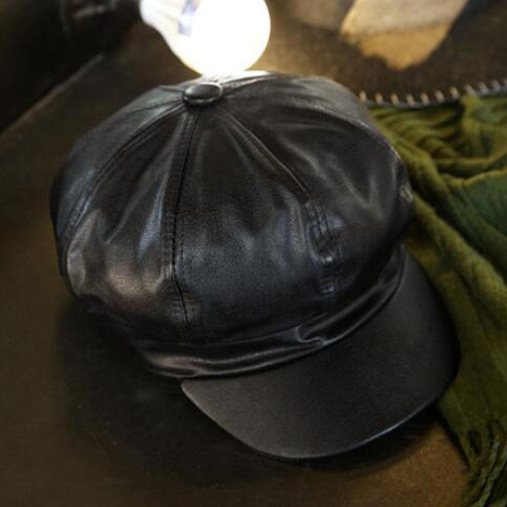 Sombrero octogonal Modelos femeninos Otoño e invierno pu sombrero Frío Mantener caliente sombrero