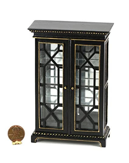 Dollhouse Miniature 1:12 Scale Black Cabinet With Glass Doors And Shelves