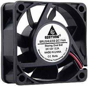 GDSTIME 60mm Fan, 60mm x 60mm x 25mm Dual Ball Bearings 12V DC Brushless Cooling Fan