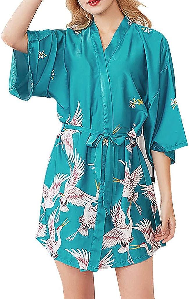 Women Stain Kimono Robe Silky Oblique V-Neck Bathrobe Nightgown Sleepsuit Short Wedding Bride Bridesmaid Sleepwear
