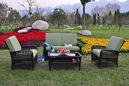 Garden Bean 4 PC All Weather Sectional Patio Rattan Wicker Sofa Cushioned Seat Furniture Set Brown/Green