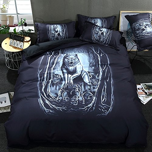 Cal Wolf - TheFit Paisley Bedding for Boys and Girls W1106 Evil Wolf and Skull Duvet Cover Set Polyester and Cotton, Twin Queen King Cal King Set, 3 Pieces (Cal King)