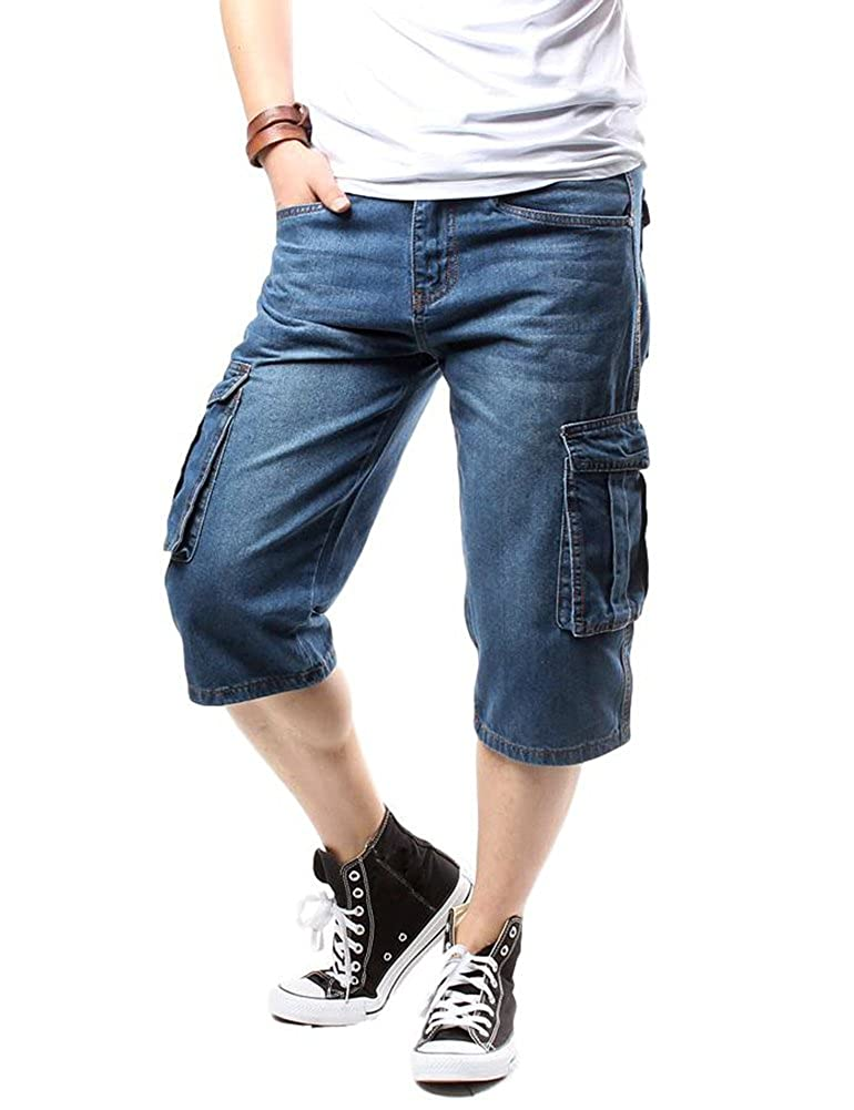 Idopy Men`s Motorcycle Loose Fit Cropped Work Jeans Denim Cargo Shorts