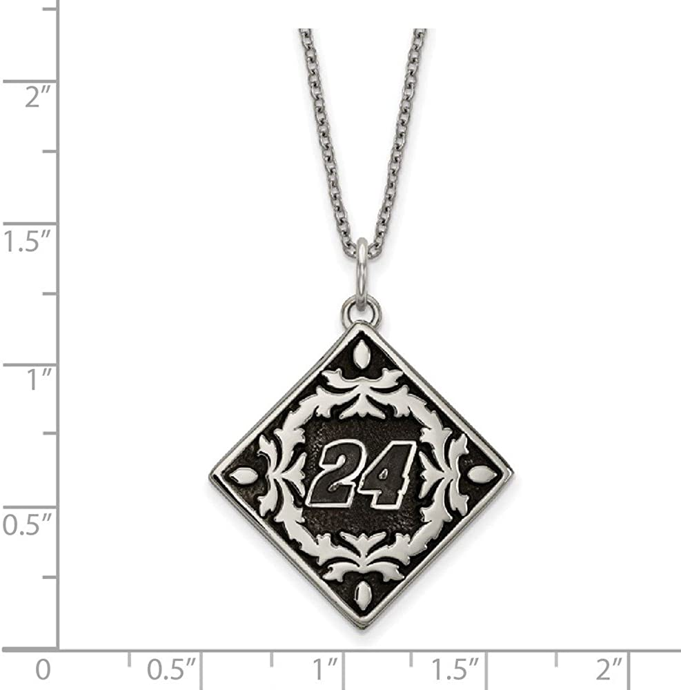 White Stainless Steel Charm Pendant WomenS Nascar 24 William Byron 27 mm 21