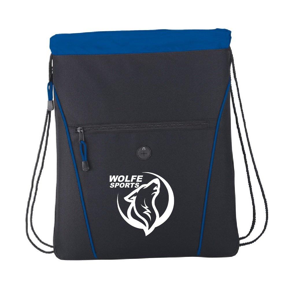 Black Wolfe Drawstring Backpack