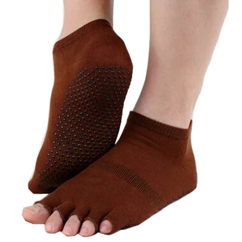 Pure Women's Non Slip Half Toe Yoga Socks Cotton Toeless Pilates Socks,Brown