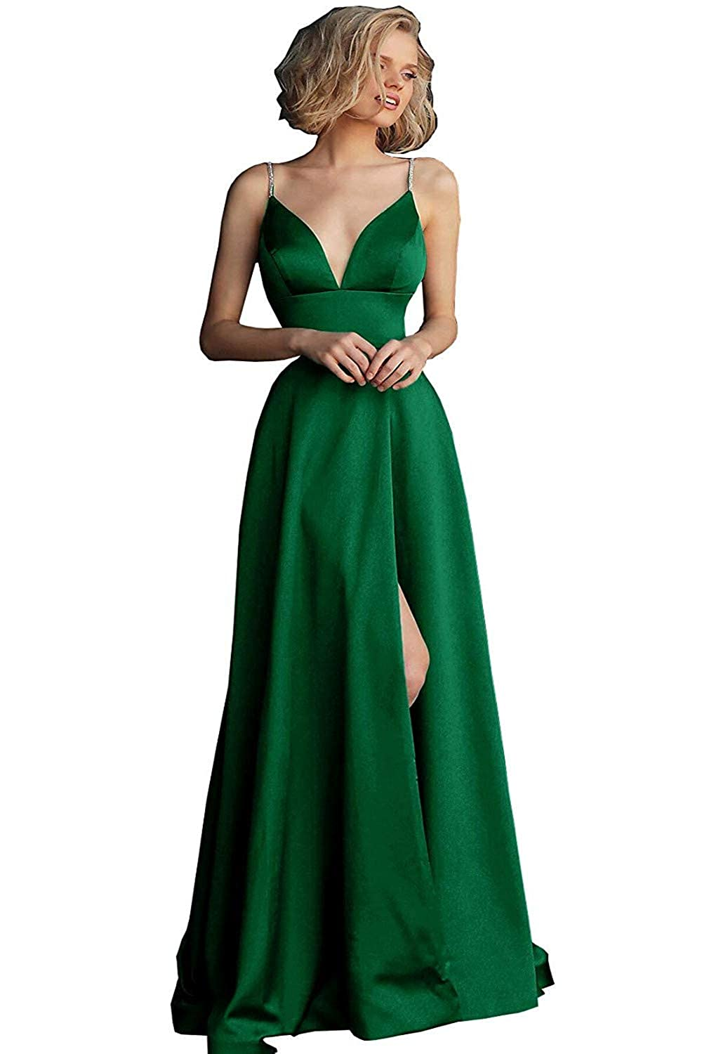 Green Sulidi Womens Sexy Deep V Neck Satin Prom Dresses 2019 Beaded Formal Evening Party Gowns Long L028