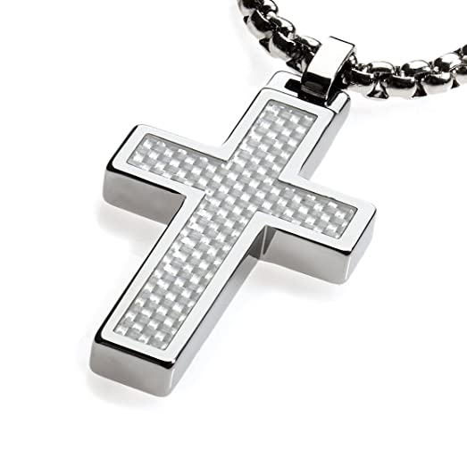 Amazon unique tungsten cross pendant 4mm wide surgical unique tungsten cross pendant 4mm wide surgical stainless steel box chain white carbon fiber aloadofball Image collections
