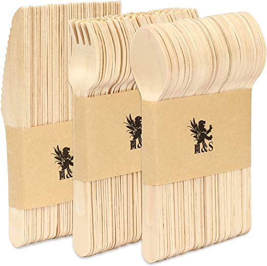 H&S [150 Piezas] Conjuntos de cubiertos de madera (Desechable ...