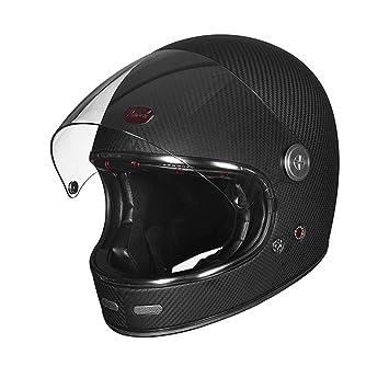 WLBRIGHT Casco De Moto De Fibra De Carbono Retro Full Face Cascos De Motos Hombres Y
