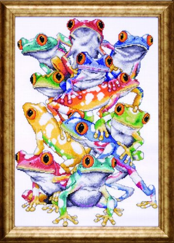 (Design Works Crafts Tobin RZ09-01953E72-R3U1 Frog Pile Counted Cross Stitch Kit-11