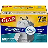 Glad ForceFlex OdorShield Drawstring Tall Kitchen Trash Bags, Heavy Duty, Crisp Clean Scent, 13 Gallon, 60 Count (