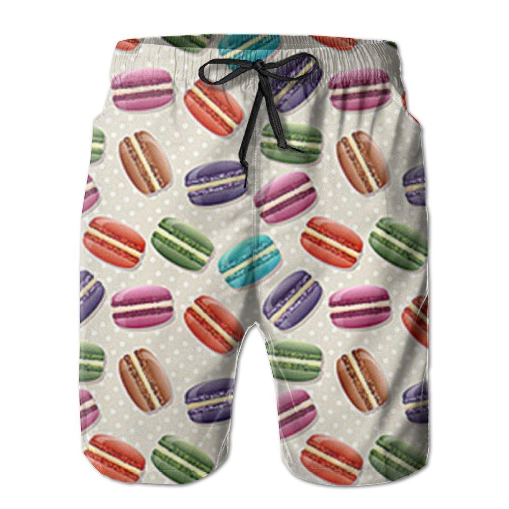 KXVLOI Mens Green Macaron Summer Holiday Quick-Drying Swim Trunks Beach Shorts Board Shorts