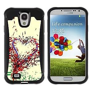 Suave TPU Caso Carcasa de Caucho Funda para Samsung Galaxy S4 I9500 / Heart Art Colorful Painting Paint Drops Love / STRONG