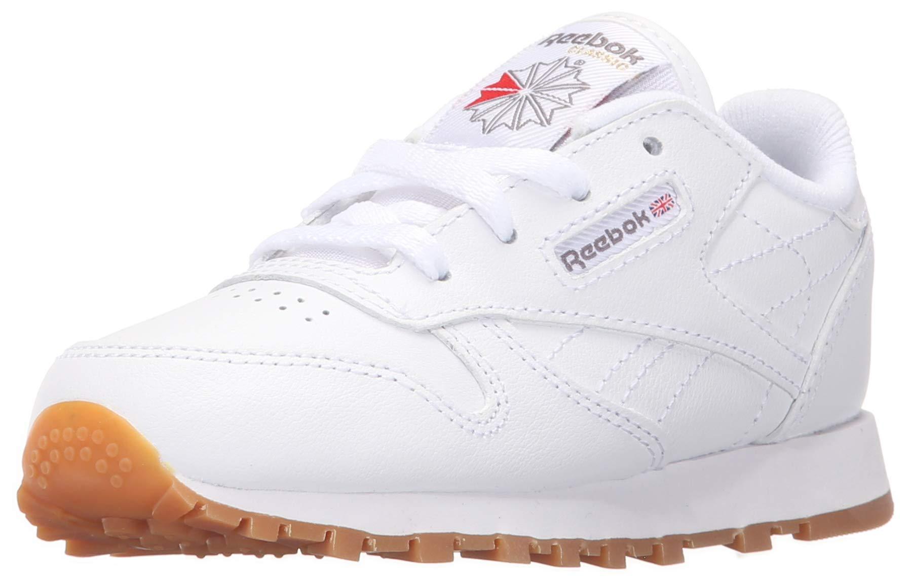 Reebok Kid's Classic Leather Shoe, White/Gum 4.5 M US Big Kid