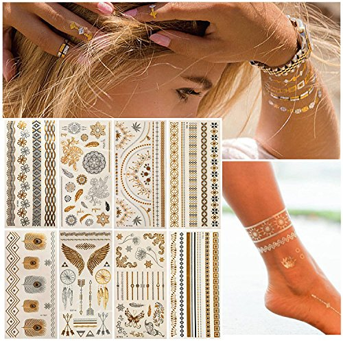 Temporary Tattoos Metallic Gold & Silver Waterproof Sweatproof Flash Tattoos Authentic Eye Glitter for Parties Festivals Beaches and Weddings 8 Sheets - Festival Flash Tattoos For Women Teens Girls