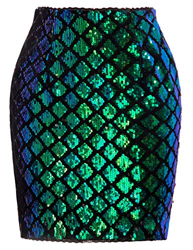 Kate Kasin High Waist Stretch Large Sequin Slim Skirts for Women, Green, Large -