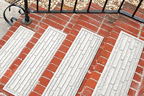 Aqua Shield Broken Brick Stair Treads, 8.5 by 30-Inch, White, Set of 4 (Patio Flooring Brick)