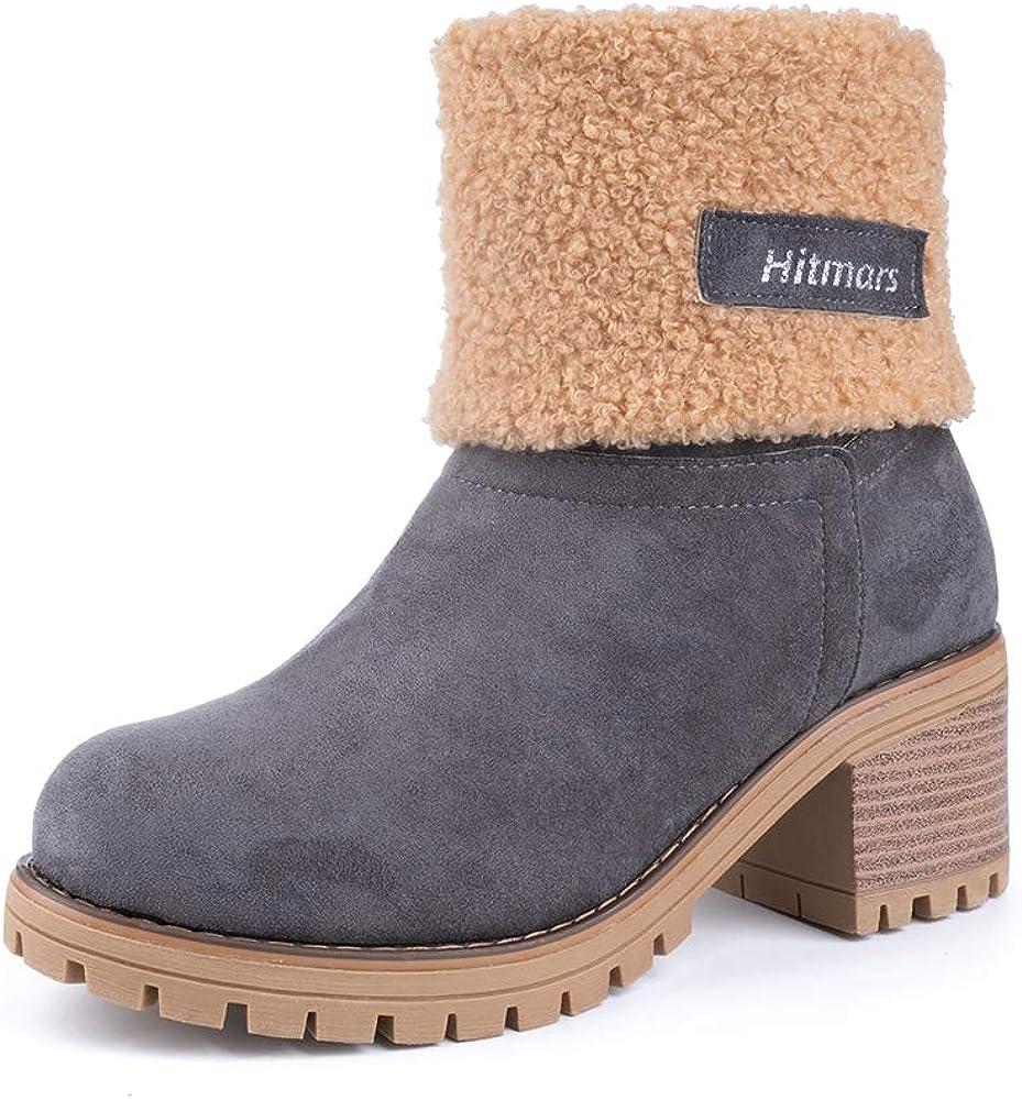 Botas Mujer Invierno Forradas C/álidas Botines Ante Plataforma Zapatos Nieve C/ómodos Casual Negro Gris Marr/ón Caqui EU 35-43