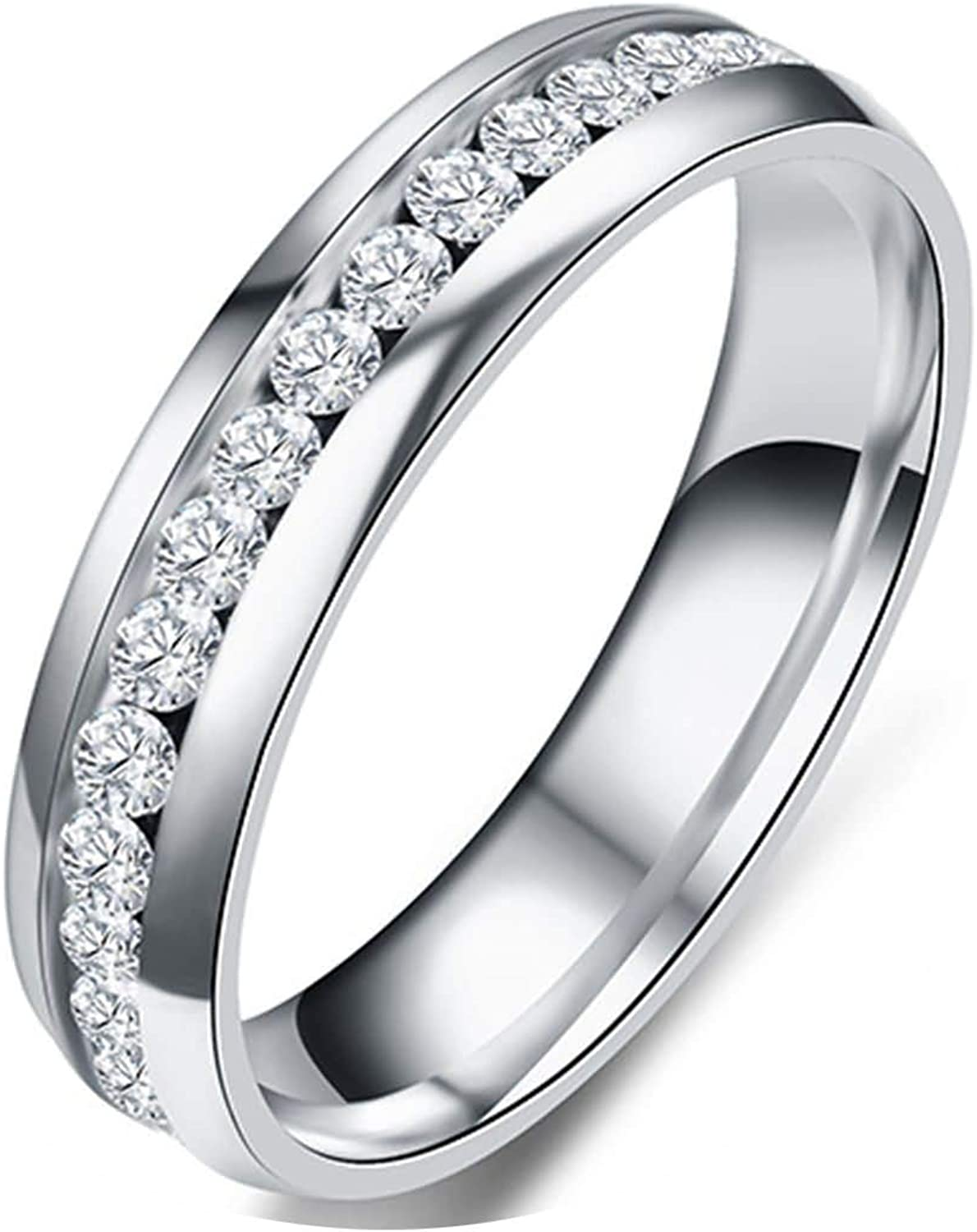 ANAZOZ Stainless Steel Rings Marriage Cubic Zirconia Gold Plated Engagement Ring Vintage Style