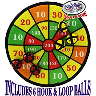"""Matty's Toy Stop Deluxe 12"""" Fabric Safety Dart Board Set with 6 Hook & Loop Balls (3 Red & 3 Yellow)"""