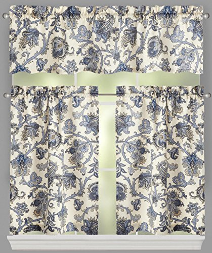 Traditions by Waverly Tennyson Floral Stripe Window Tier and Valance Set, 52-inch (Waverly Stripes Valance)