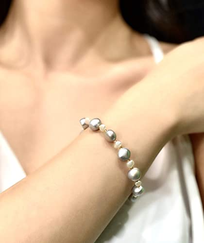 Woman Bracelet Handmade Girls Pendant Butterfly Gift Idea Elastic Bracelet With Gray Pearls,Jewelry