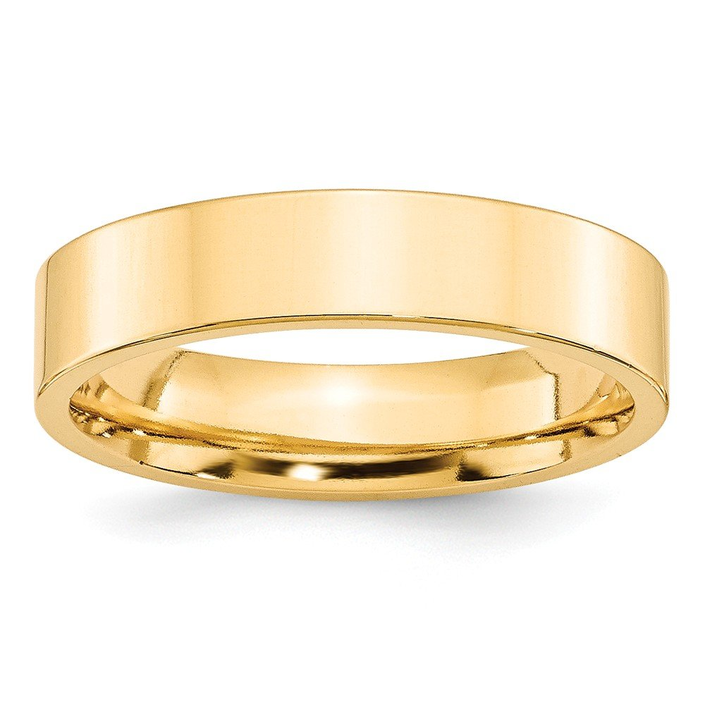 Top 10 Jewelry Gift 14KY 5mm Standard Flat Comfort Fit Band Size 9.5