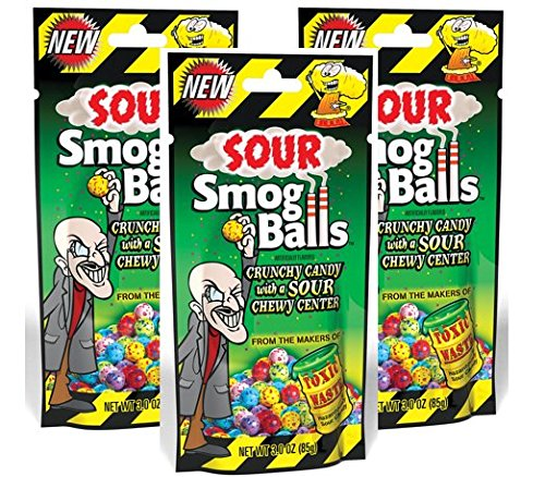 Toxic Waste Sour Smog Balls Candy Bundle - Crunchy Candy With A SOUR Chewy Center - 3oz Bag (Pack of 3)