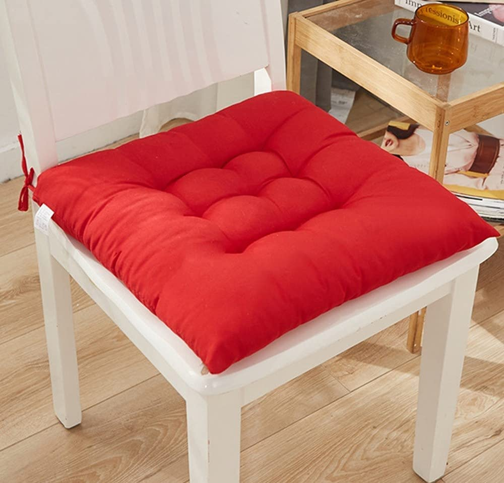 Chair Pads Seat Cushion with Ties,Outdoor Indoor Soft Thicken Comfy Seat Pads Cushion Pillow,Dining Room Kitchen Chair Cushions for Home Office Car Patio Furniture Garden Decoration (X/Red)